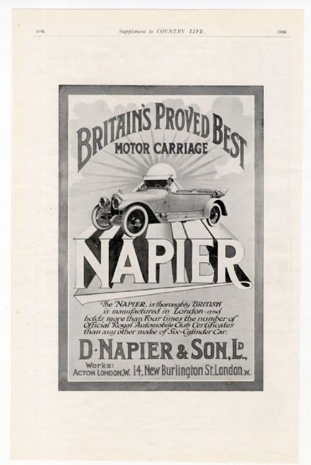 1916 Print NAPIER Car MOTOR CARRIAGE Six Cylinder ADVERT Original Advertising